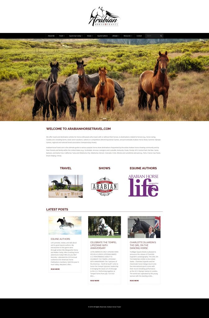 Arabian Horse Travels Website image